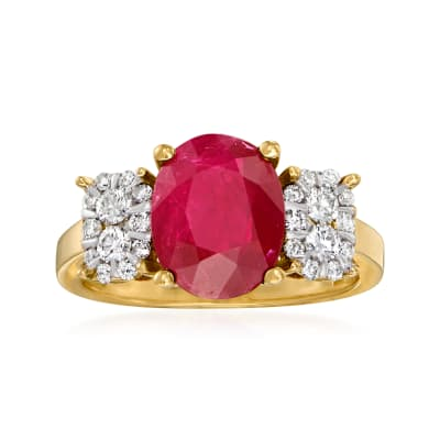 3.00 Carat Ruby and .35 ct. t.w. Diamond Ring in 14kt Yellow Gold