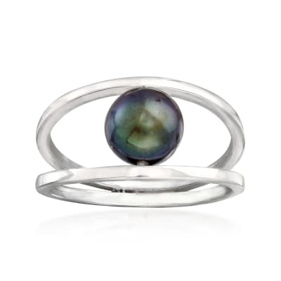 8mm Black Cultured Pearl Double Open-Circle Ring in Sterling Silver