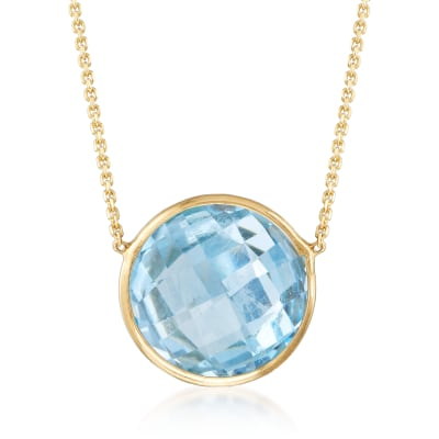 4.00 Carat Sky Blue Topaz Necklace in 14kt Yellow Gold
