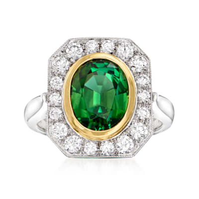 4.50 Carat Green Tourmaline Ring with .69 ct. t.w. Diamonds in 14kt Two-Tone Gold