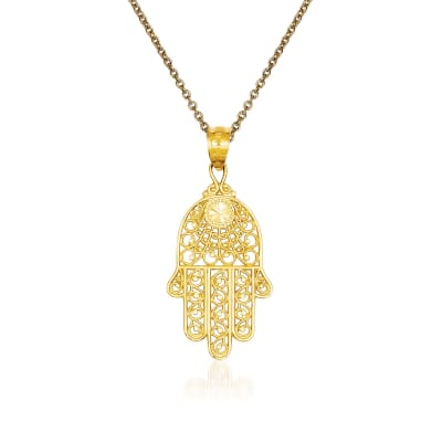 14kt Yellow Gold Hand of God Pendant Necklace