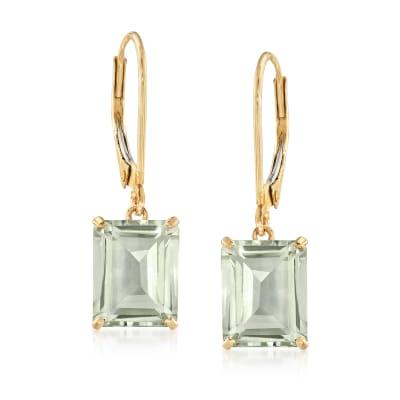 4.20 ct. t.w. Prasiolite Drop Earrings in 14kt Yellow Gold