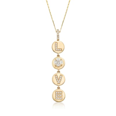 ".56 ct. t.w. Diamond ""Love"" Circle Disc Pendant Necklace in 14kt Yellow Gold"