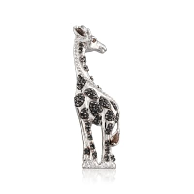 .90 ct. t.w. Black Spinel and .12 ct. t.w. Smoky Quartz Giraffe Pin in Sterling Silver