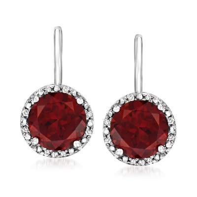 2.90 ct. t.w. Garnet Drop Earrings with Diamond Accents in Sterling Silver