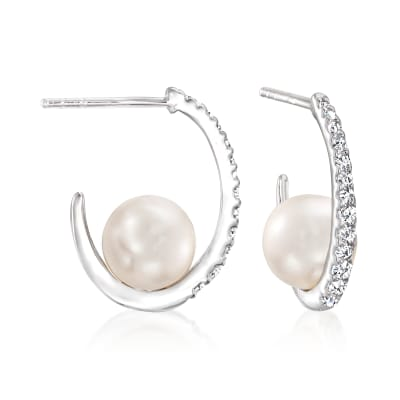 8mm Cultured Pearl and .33 ct. t.w. CZ Hoop Earrings in Sterling Silver