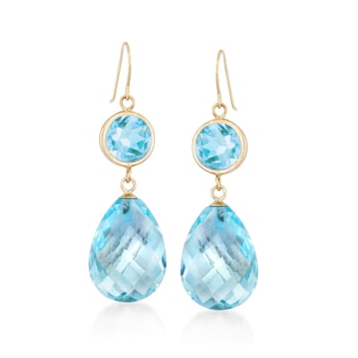 22.00 ct. t.w. Blue Topaz Drop Earrings in 14kt Yellow Gold