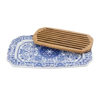"""Spode """"Judaica"""" Challah Tray with Wooden Insert"""