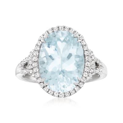 5.70 Carat Aquamarine and .36 ct. t.w. Diamond Ring in 14kt White Gold