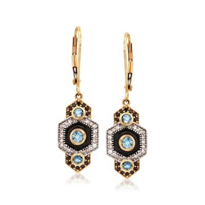 1.10 ct. t.w. Multi-Gemstone Vintage-Style Drop Earrings with Black Enamel in 14kt Yellow Gold