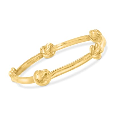 Italian Andiamo 14kt Yellow Gold Over Resin Knot Station Bangle Bracelet