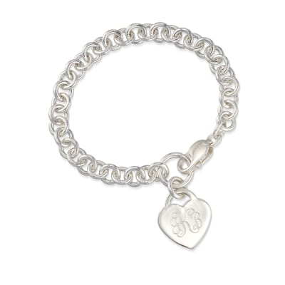Sterling Silver Personalized Heart Charm Bracelet
