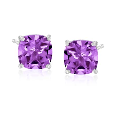 4.90 ct. t.w. Amethyst Stud Earrings in Sterling Silver