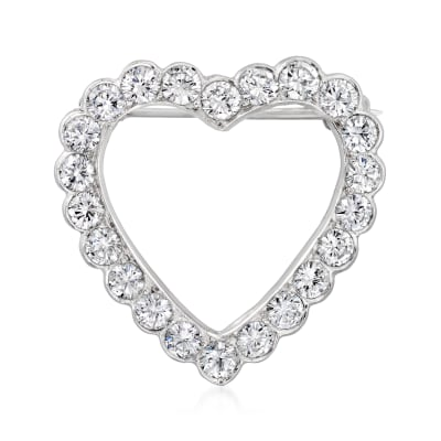 C. 1990 Vintage 1.50 ct. t.w. Diamond Heart Pin in Platinum