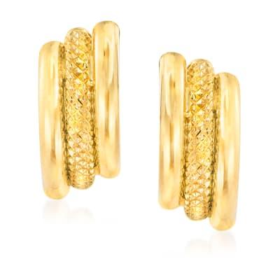 Italian 18kt Yellow Gold Triple-Row Earrings