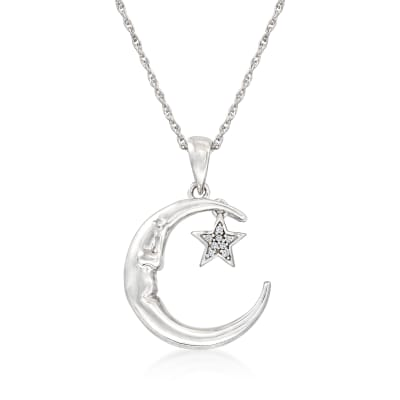 "Diamond-Accented ""Love You to the Moon and Back"" Star and Moon Pendant Necklace in Sterling Silver"