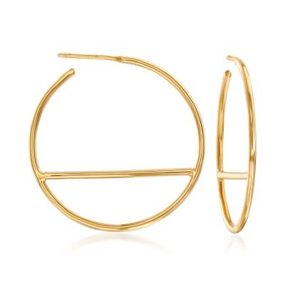 Italian 14kt Yellow Gold Horizontal Bar Hoop Earrings