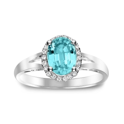 1.80 Carat Blue Zircon Ring with .11 ct. t.w. Diamonds in 14kt White Gold