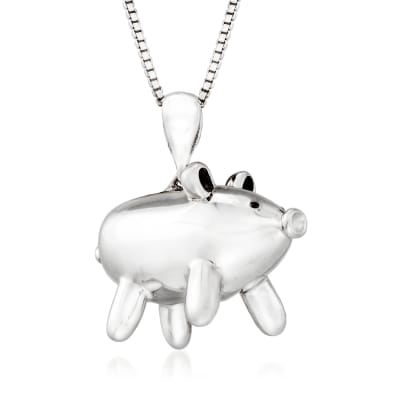 Sterling Silver Balloon Pig Pendant Necklace