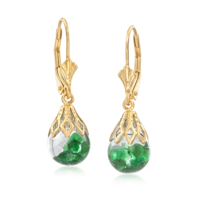 .70 ct. t.w. Floating Emerald Hoop Drop Earrings in 14kt Yellow Gold