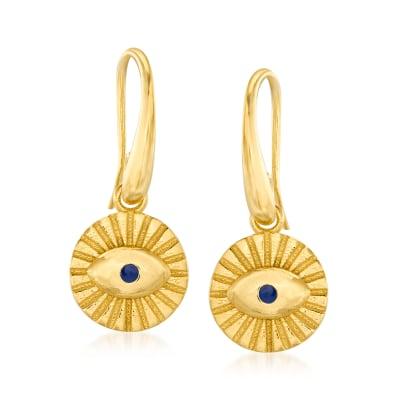 Italian Blue Enamel Evil Eye Drop Earrings in 18kt Gold Over Sterling