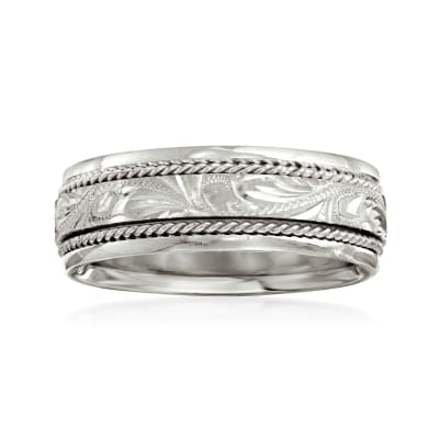 Men's 7mm 14kt White Gold Double-Twist Wedding Band