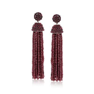 Garnet Bead Tassel Drop Earrings in Sterling Silver