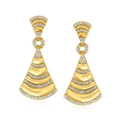 .67 ct. t.w. Diamond Fan Drop Earrings in 18kt Gold Over Sterling