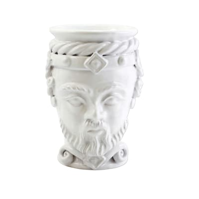 "Vietri ""Sicilian Heads"" Small White King Head from Italy"