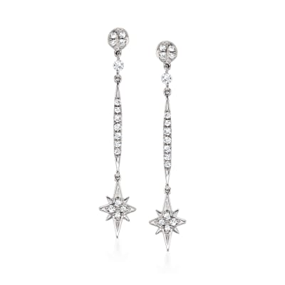 .20 ct. t.w. Diamond Star Drop Earrings in 14kt White Gold