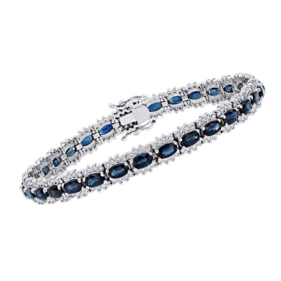 9.30 ct. t.w. Sapphire and 1.70 ct. t.w. Diamond Tennis Bracelet in 14kt White Gold