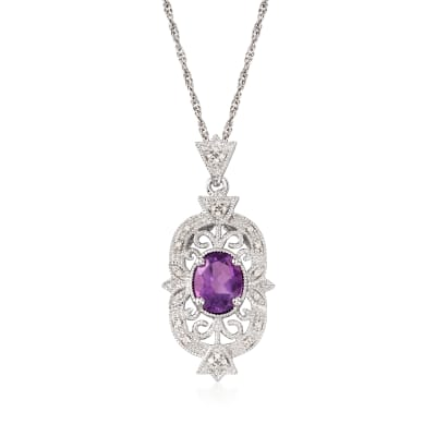 1.60 Carat Amethyst and .12 ct. t.w. Diamond Filigree Pendant Necklace in Sterling Silver