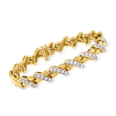 C. 1990 Vintage 1.05 ct. t.w. Diamond X-Link Bracelet in 18kt Yellow Gold