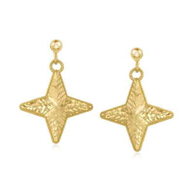 Italian 14kt Yellow Gold Star Drop Earrings