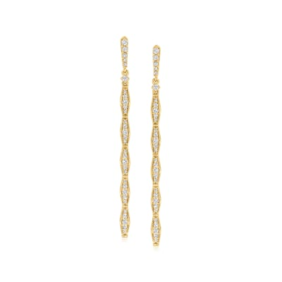 .52 ct. t.w. Diamond Linear Drop Earrings in 18kt Gold Over Sterling