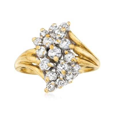 C. 1980 Vintage .75 ct. t.w. Diamond Cluster Ring in 14kt Yellow Gold