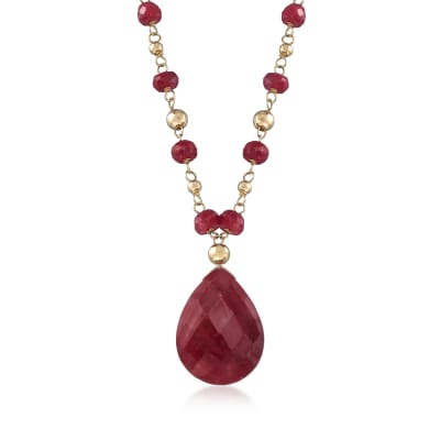 24.00 ct. t.w. Ruby Station Necklace in 14kt Yellow Gold