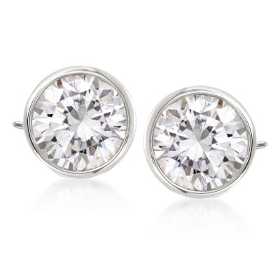 3.00 ct. t.w. Bezel-Set Diamond Stud Earrings in 14kt White Gold