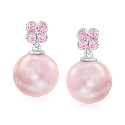 10-10.5mm Pink Cultured Pearl and .30 ct. t.w. Pink Sapphire Drop Earrings with Diamond Accents in 14kt White Gold