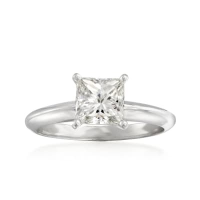 1.21 Carat Certified Princess-Cut Diamond Ring in 14kt White Gold