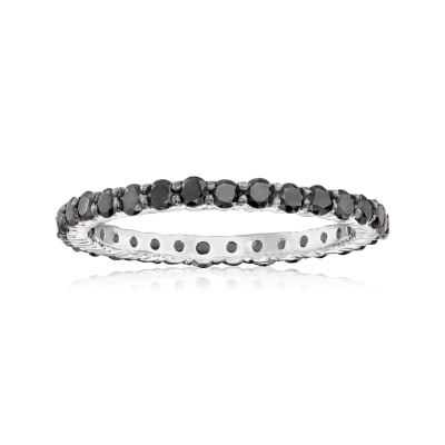 1.00 ct. t.w. Black Diamond Eternity Band in 14kt White Gold