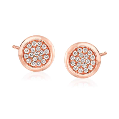 .41 ct. t.w. Pave Diamond Circle Earrings in 14kt Rose Gold