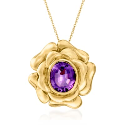 C. 1980 Vintage 6.40 Carat Amethyst Flower Pendant Necklace in 14kt Yellow Gold