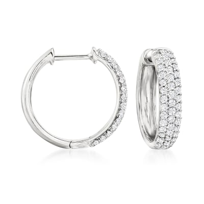 .50 ct. t.w. Pave Diamond Hoop Earrings in Sterling Silver