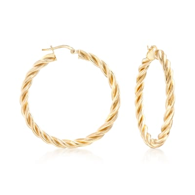 Italian 18kt Gold Over Sterling Medium Twisted Hoop Earrings
