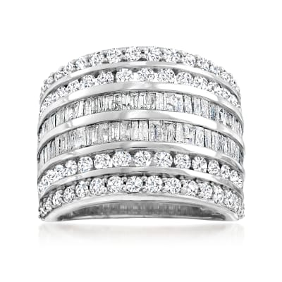 3.00 ct. t.w. Baguette and Round Diamond Multi-Row Ring in Sterling Silver