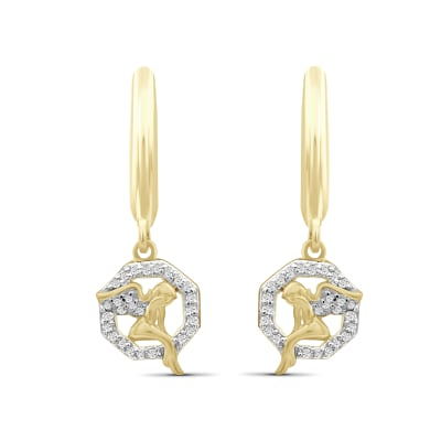 .15 ct. t.w. Diamond Angel Drop Earrings in 18kt Gold Over Sterling