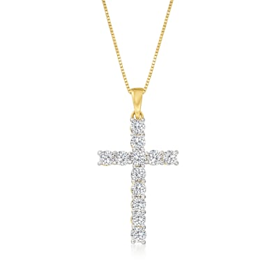 1.00 ct. t.w. Diamond Cross Pendant Necklace in 14kt Yellow Gold