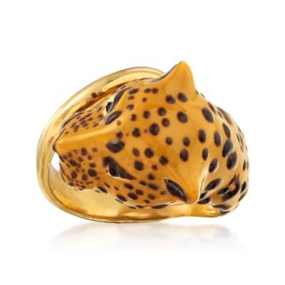 Italian Enamel Cheetah Ring in 18kt Gold Over Sterling