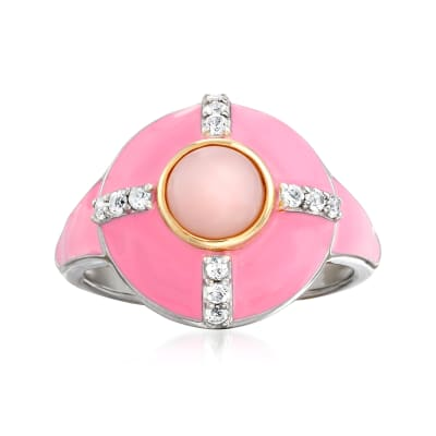 Pink Opal and .20 ct. t.w. White Topaz Ring in Sterling Silver with 14kt Yellow Gold